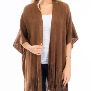 Fringe Trim Sweater Knit Poncho/Cardigan Camel